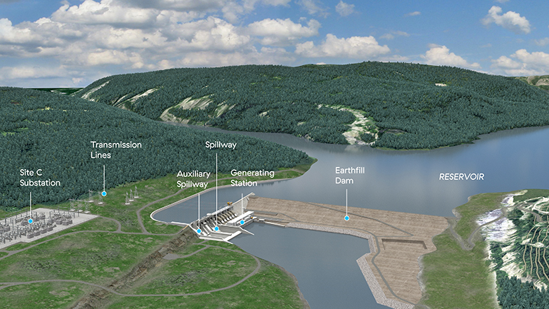 Site C artist's rendering, labeled, April 2018