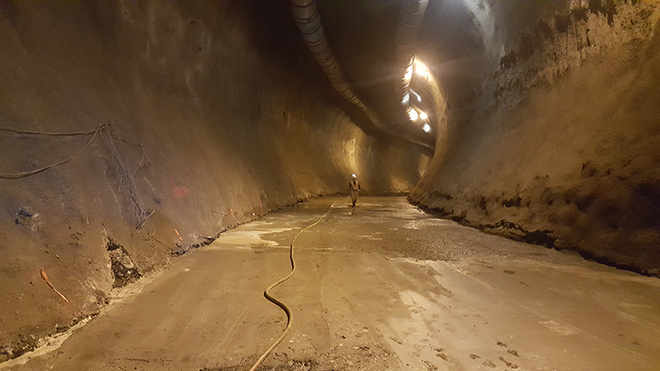 A look inside one of the fully excavated diversion tunnels, temporarily lined with shotcrete.