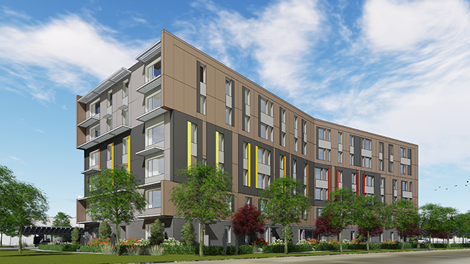 Artist rendering of the 50-unit residential building