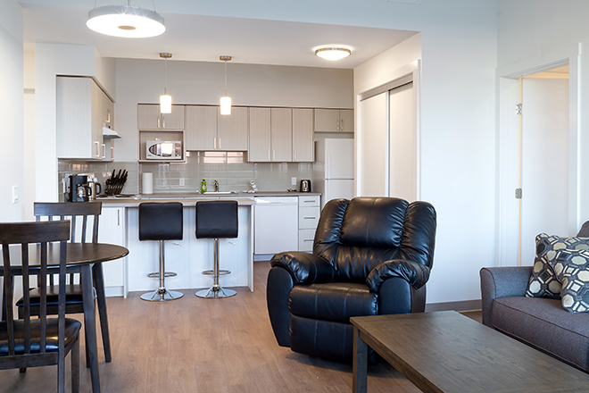 The interior of one of the new two-bedroom units.