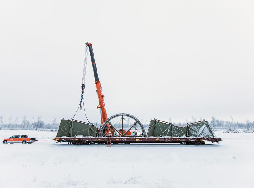 The turbines and generators contractor delivering equipment to their work area (January 2018)