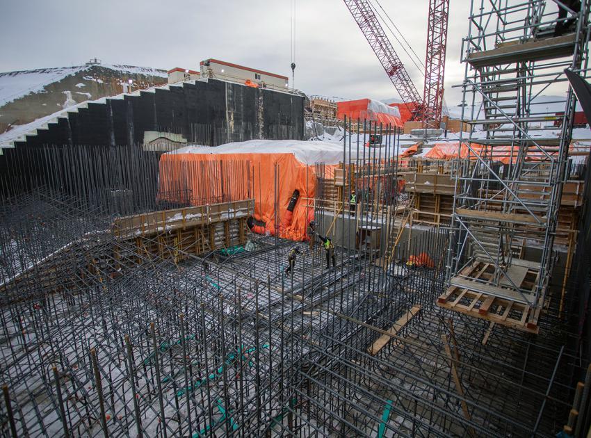 Rebar installation under way at the lower spillway. (November 2020)