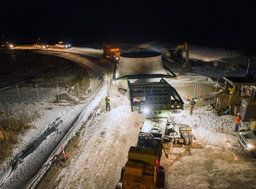 Unit 1 turbine runner arrives at Site C after travelling from Sao Paulo, Brazil, by ship to Prince Rupert, and transported on a customized truck to the project site. (January 2021)