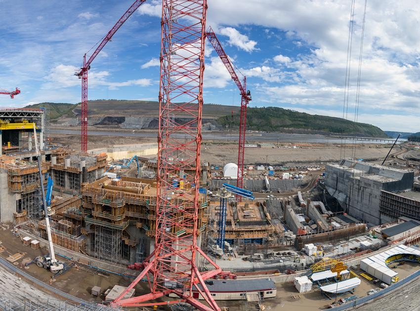 A panorama view overlooking the intake units which are components that will allow water to flow in from the reservoir. (August 2019)