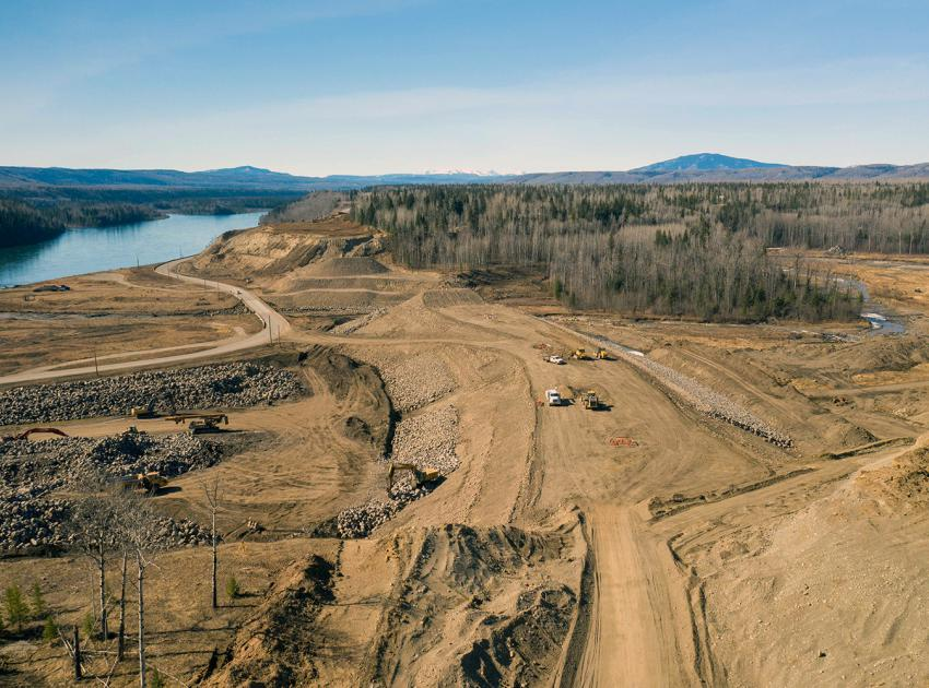The Highway 29 realignment at Lynx Creek is under construction. As the longest segment of highway to be realigned, the eight kilometres of highway include a new bridge, causeway, and embankment. (April 2021)