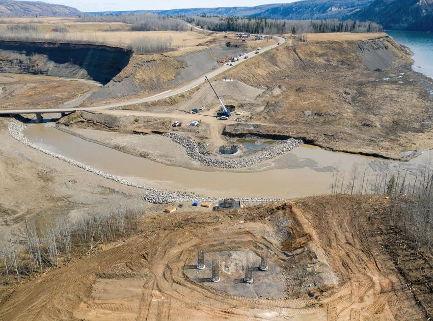 Construction continues on the new Highway 29 segment and bridge at Farrell Creek. (April 2021)