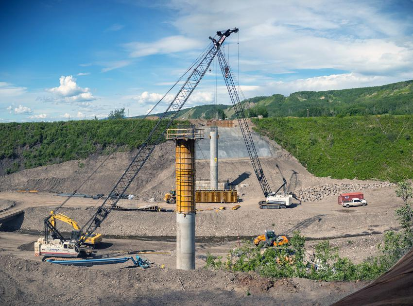 Highway 29 realignment at Dry Creek, where the first bridge pier is complete, and the formwork for the top of the second of two piers is in place. (June 2021)
