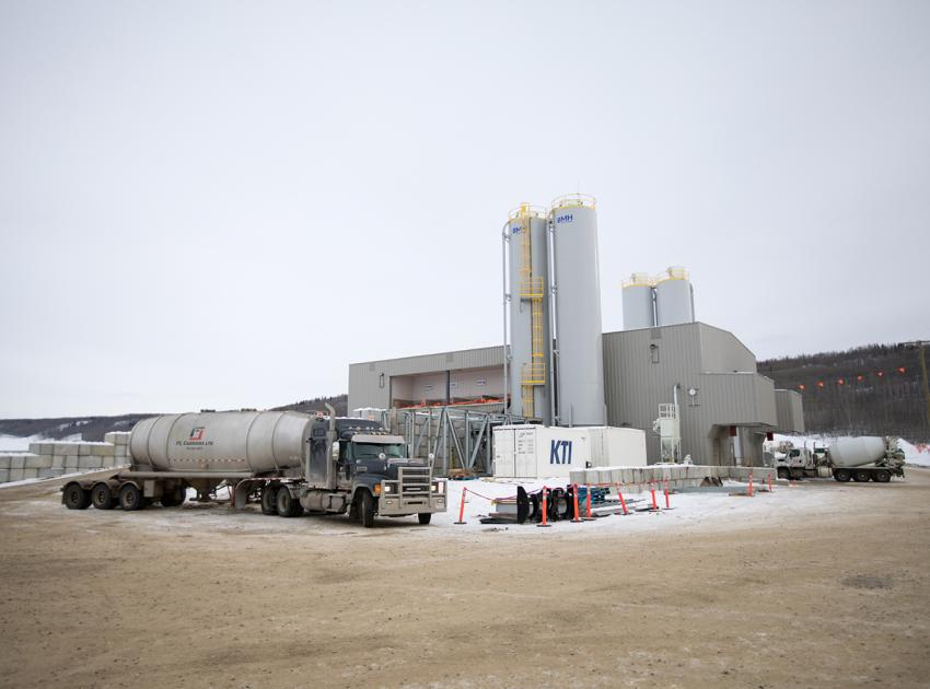 An on-site concrete batch plant is used to mix concrete for the generating station and spillways. (February 2019)