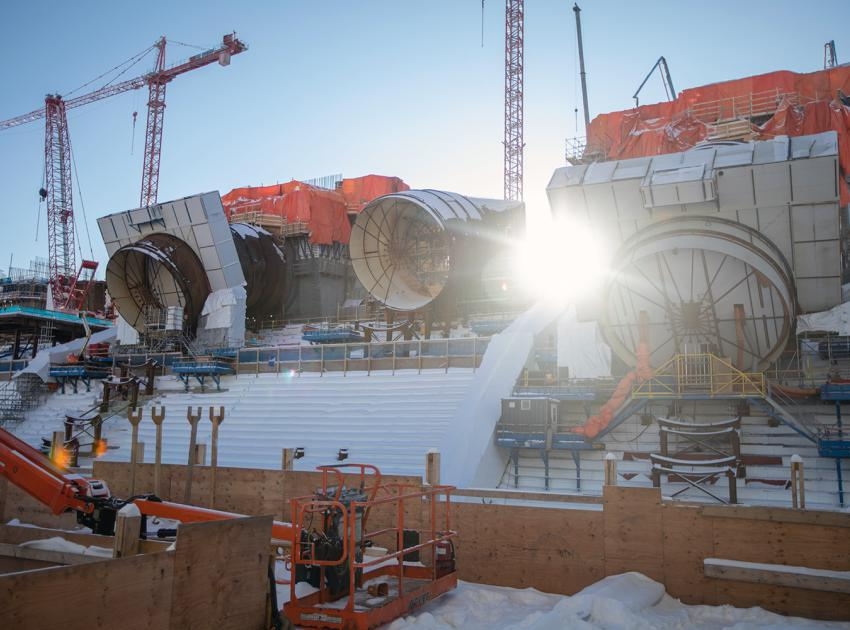 Penstock construction of units 1, 2 and 3 progresses. (January 2020)