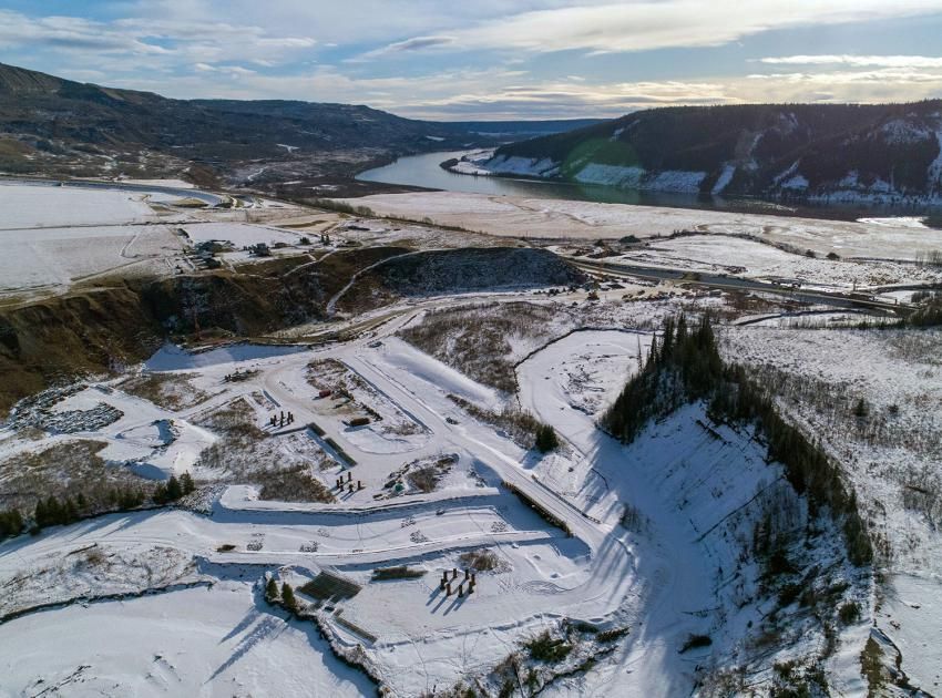 An aerial view of the Highway 29 realignment section at Cache Creek. (February 2021)