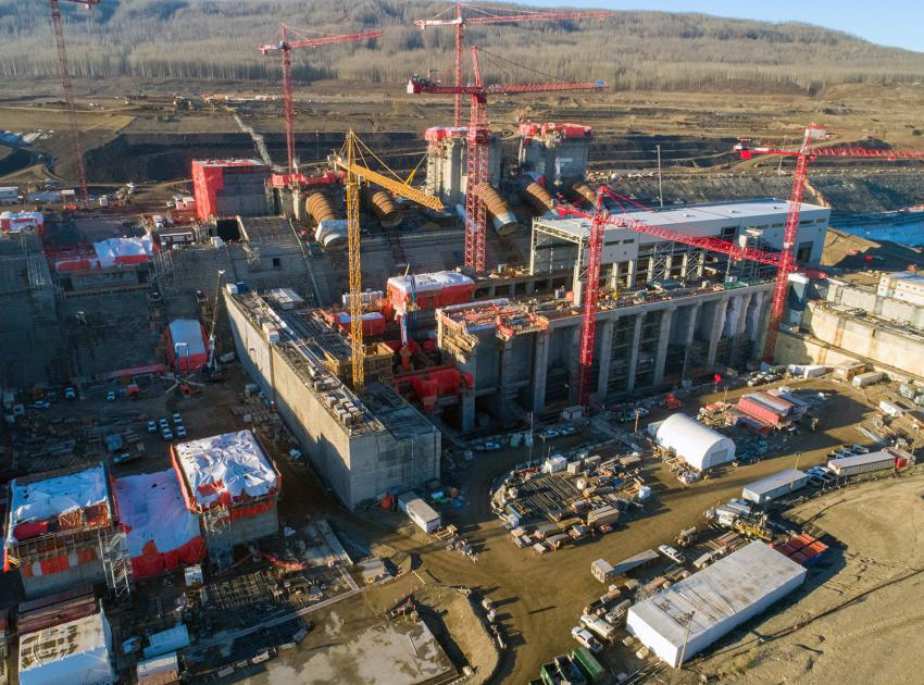 Up to nine cranes are being used to build the Site C powerhouse and install the six penstocks. (October 2020)