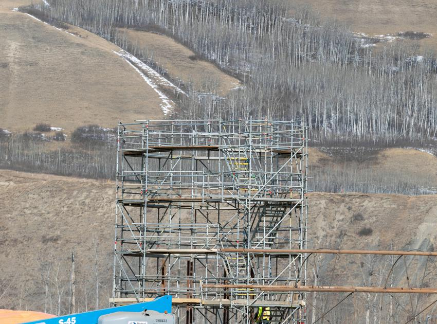 Preparation underway for driving bridge piles at Halfway River for the Highway 29 realignment. (March 2020)