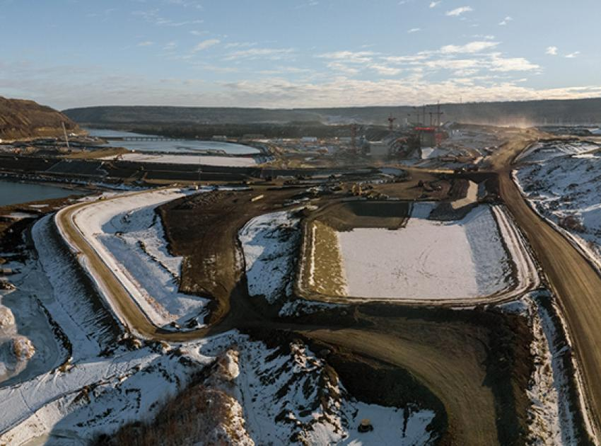 Aerial view of the approach channel excavation works. (January 2021)
