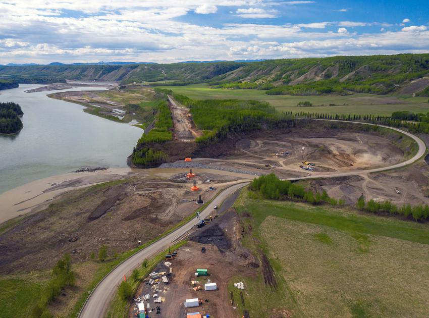 Construction continues on the new Highway 29 realignment and bridge foundation works at Farrell Creek. (May 2021)