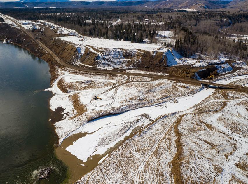 Aerial photo of the Highway 29 realignment at Lynx Creek showing work underway on the west abutment. (March 2021)