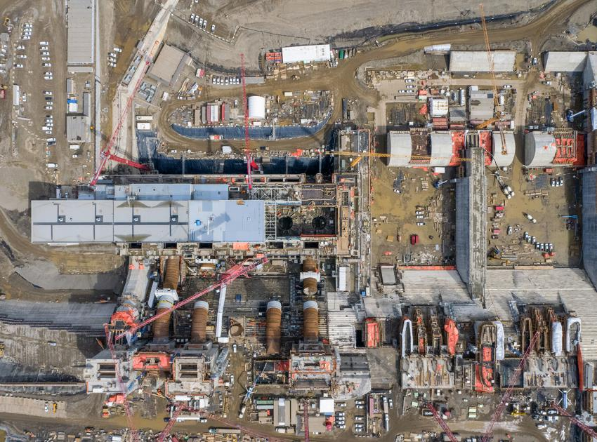 Overhead view of the Site C generating station and spillways. (April 2021)