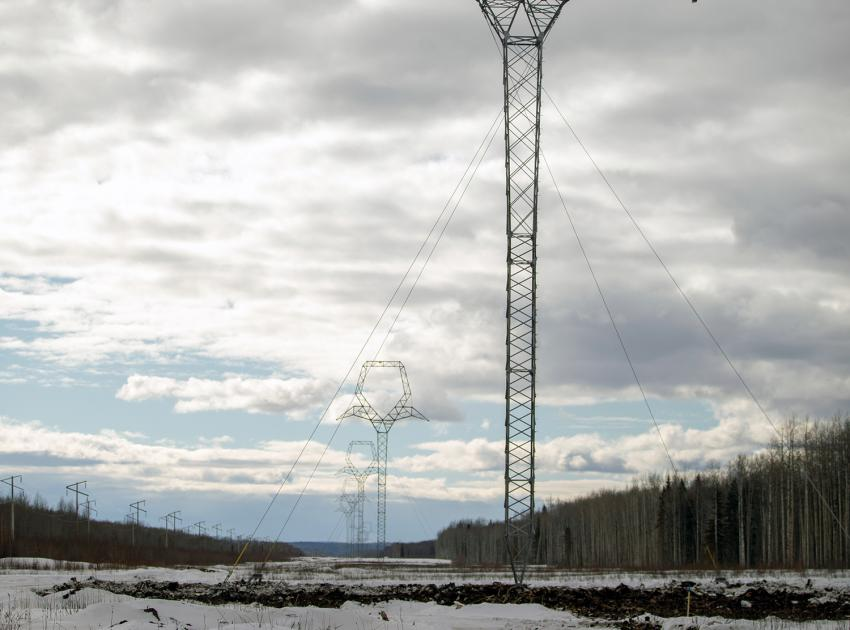 One of 51 new transmission towers that have been installed (out of 200 total) needed to complete the first of two 75 km, 500 kilovolt transmission lines. (Spring 2019)