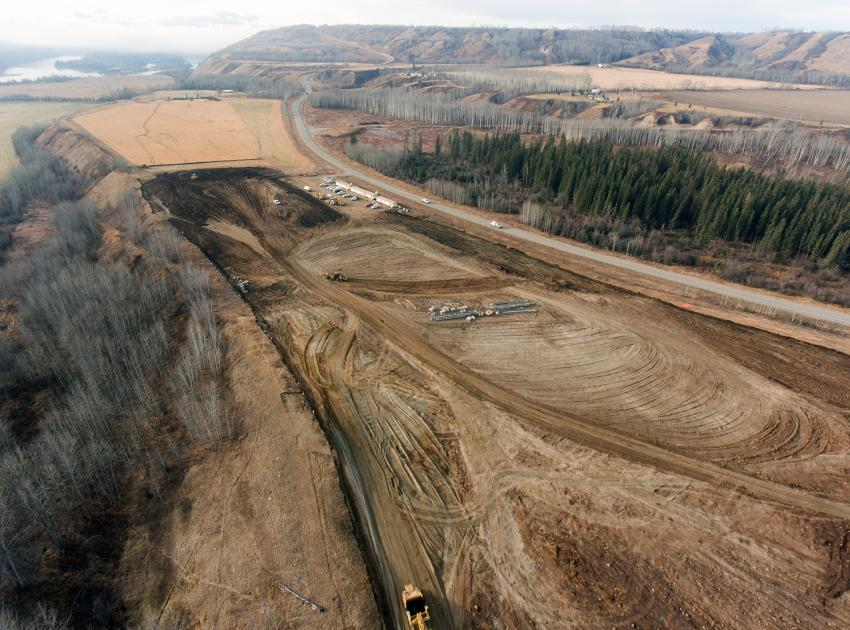 Laydown area for Highway 29 Cache Creek West construction (October 2018)