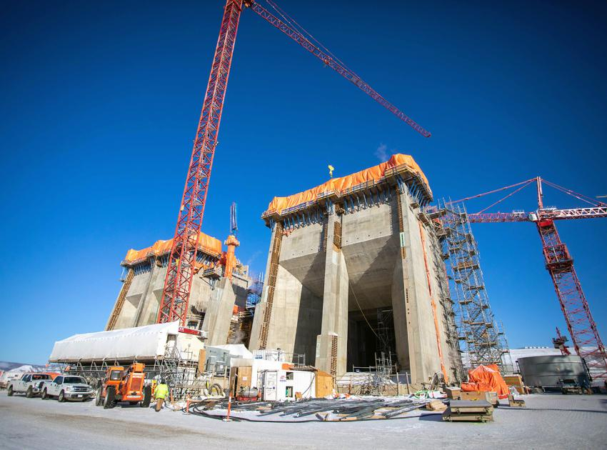 Intake units 1 and unit 3 are nearing completion as part of the ongoing powerhouse construction. (February 2021)