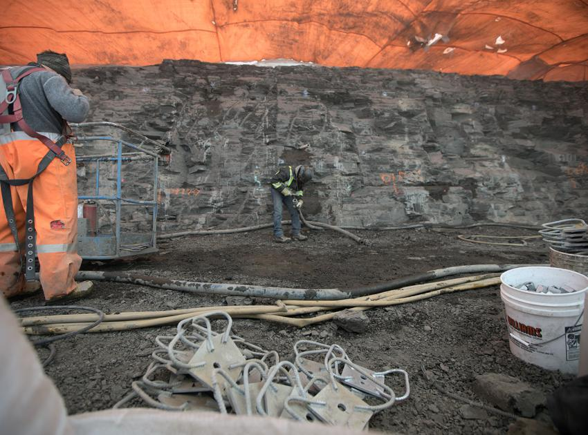 North bank shotcrete placement for the inlet portal (April 2018)
