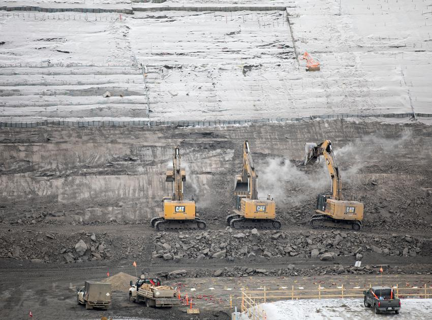 Excavation continues on the foundation for the three concrete spillways on the south bank. (February 2019)