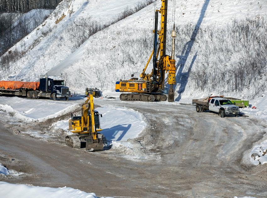 Drilling underway for bridge pier installation at Dry Creek. (November 2020)