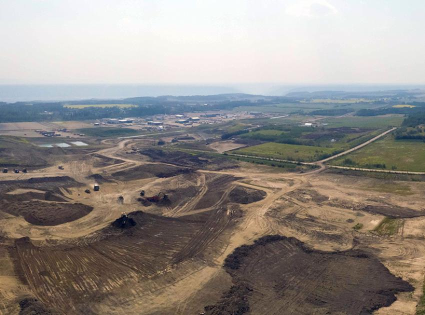 The glacial till to build the Site C dam is sorted at the 85th Avenue industrial land. Sorting is arranged based on where till will be placed in the dam core. (July 2021)