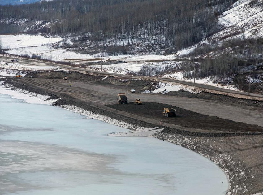 An aerial view of the new Lynx Creek embankment on Highway 29. (December 2020)