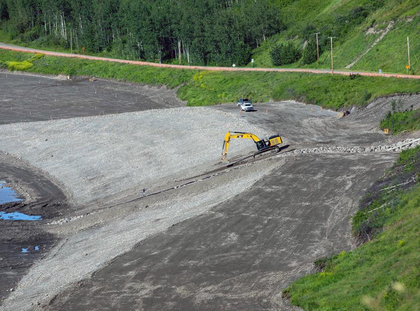 Roadway embankment construction upstream of Dry Creek. (July 2020)