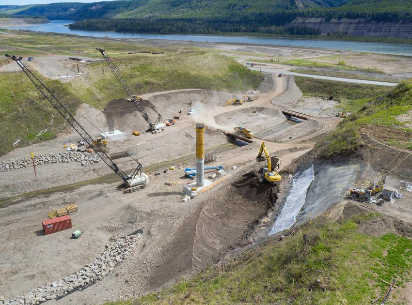 The first of two columns is complete on the new 158-metre-long bridge on Highway 29 at Dry Creek. (May 2021)