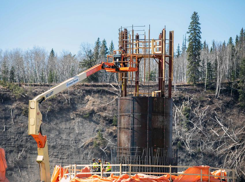 Crews construct one of the piers for the new Cache Creek bridge on Highway 29. (April 2021)