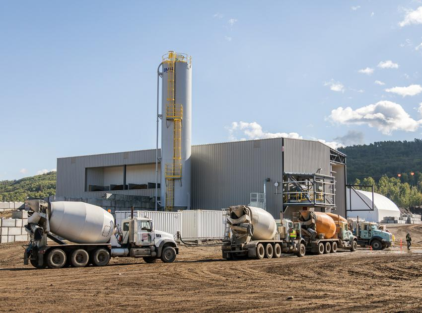 Trucks at a concrete batch plant on the south bank (September 2018)