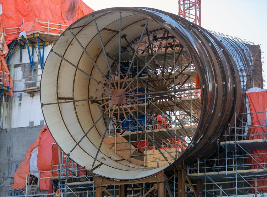 Upstream view of the penstock for Unit 2 at the 'spider-bracing' used for internal support. (February 2020)