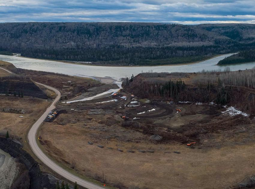 A panoramic view shows clearing underway at the Farrell Creek segment of the Highway 29 realignment. (November 2020)