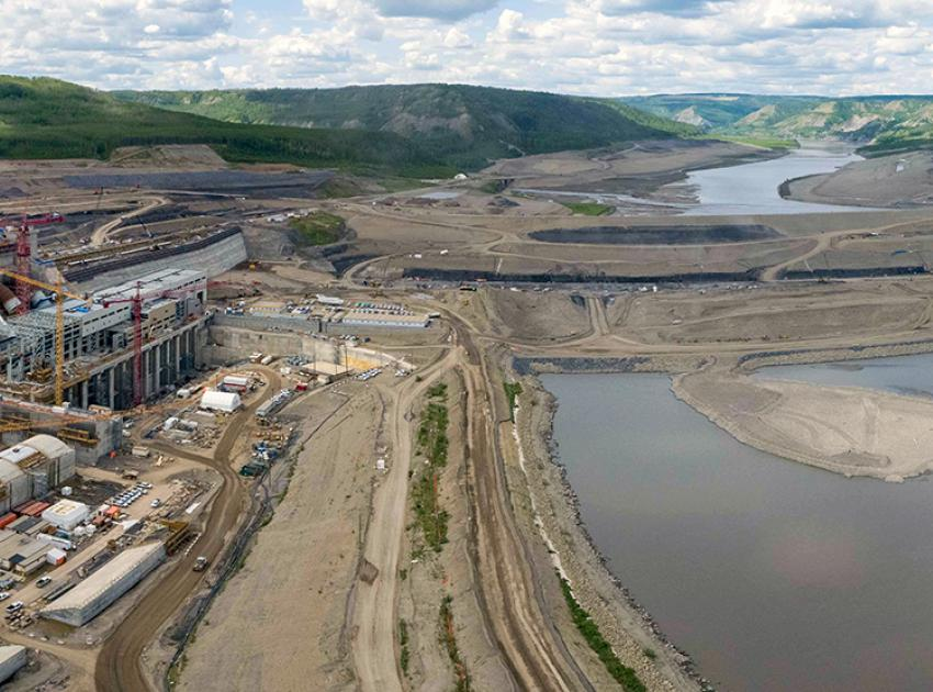 An upstream view of the Site C dam construction site. (June 2021)