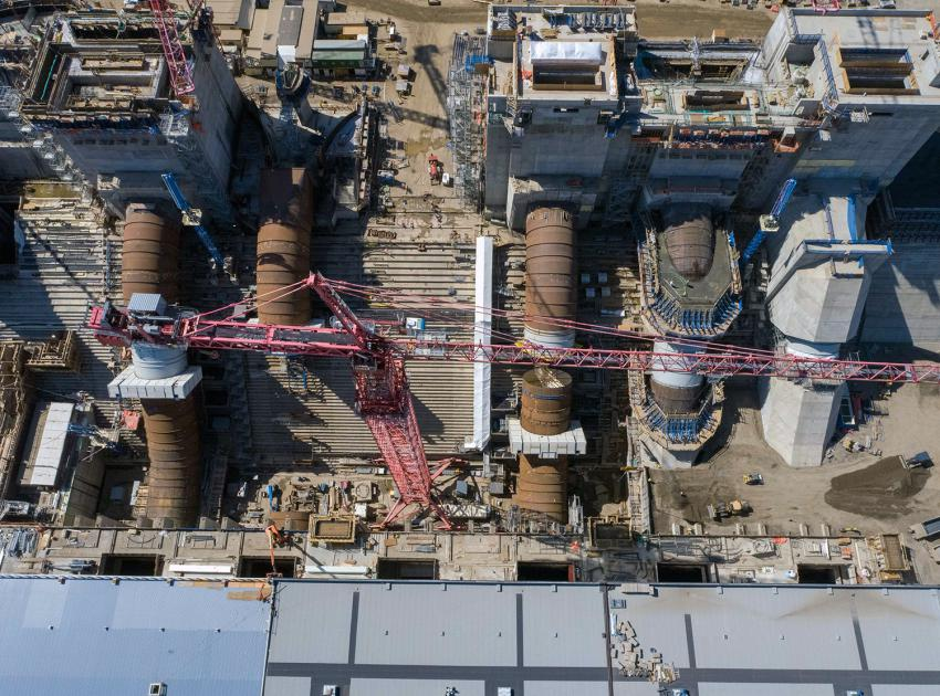 A top view (from right to left) of the unit 1 to 6 intakes and penstocks in varying stages of construction. Unit 4 is going to be the last to be built. (July 2021)