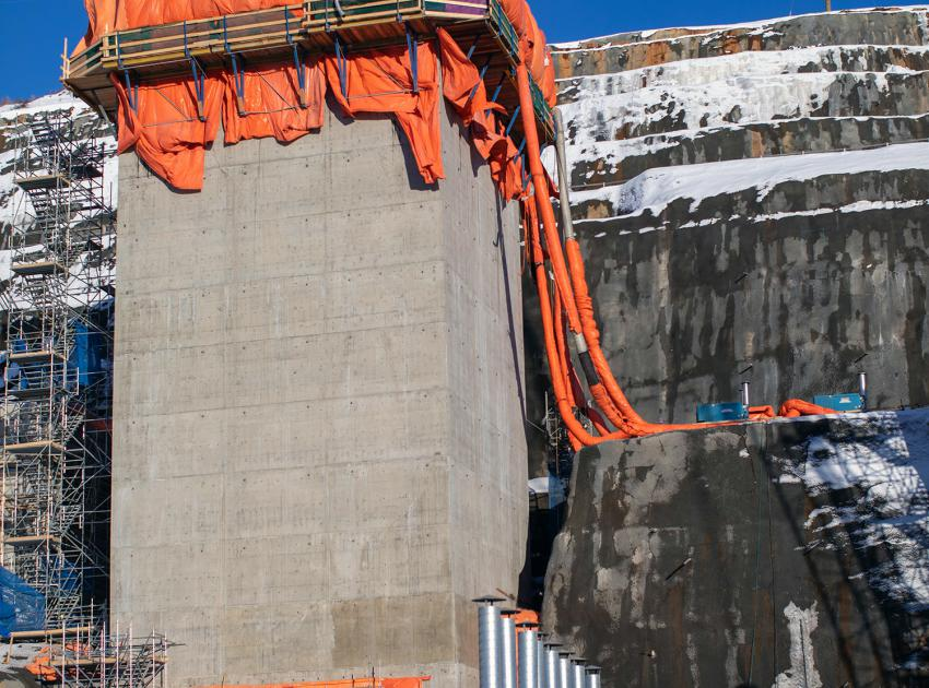 The completed inlet structure for diversion tunnel two stands 30.5 metres, or nearly 10 stories high. (February 2020)