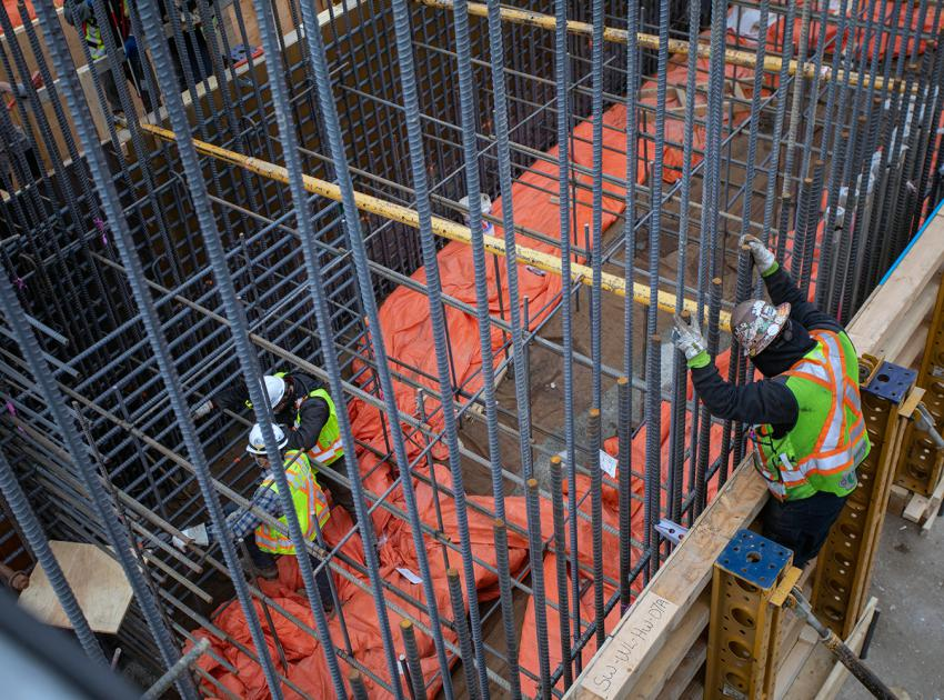 Rebar installation at the spillway headworks. (April 2021)