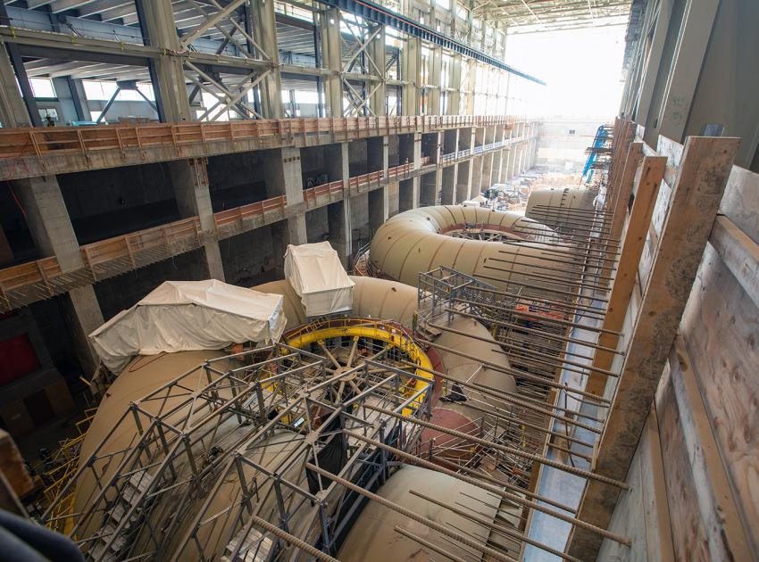 Spiral case units 1, 2, and 3, are under construction in the powerhouse. (July 2021)