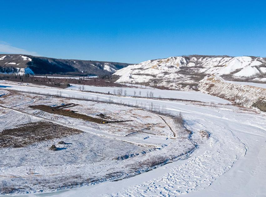 Site preparation is underway along Highway 29 at Halfway River for construction of 3.7 kilometres of new highway and a 1-km long bridge. (February 2020)