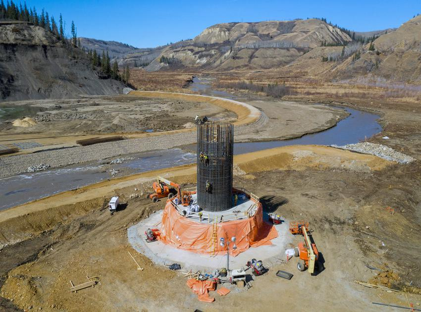 The third pier is under construction at the Cache Creek segment of the Highway 29 realignment. Bridge pier construction includes the installation of steel rebar, formwork and the placement of concrete. (April 2021)