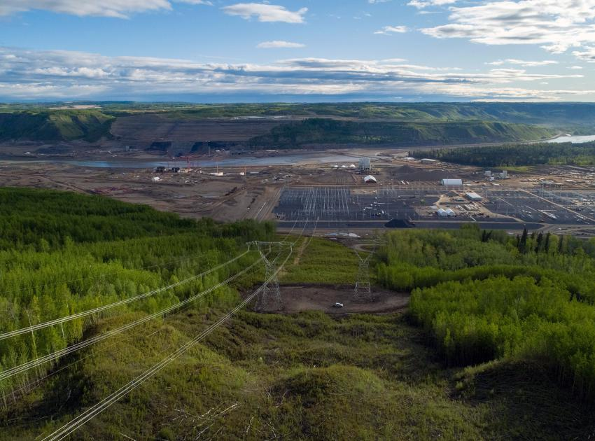 View of the Site C substation down the transmission line right-of-way with the completed tower installations. (May 2020)