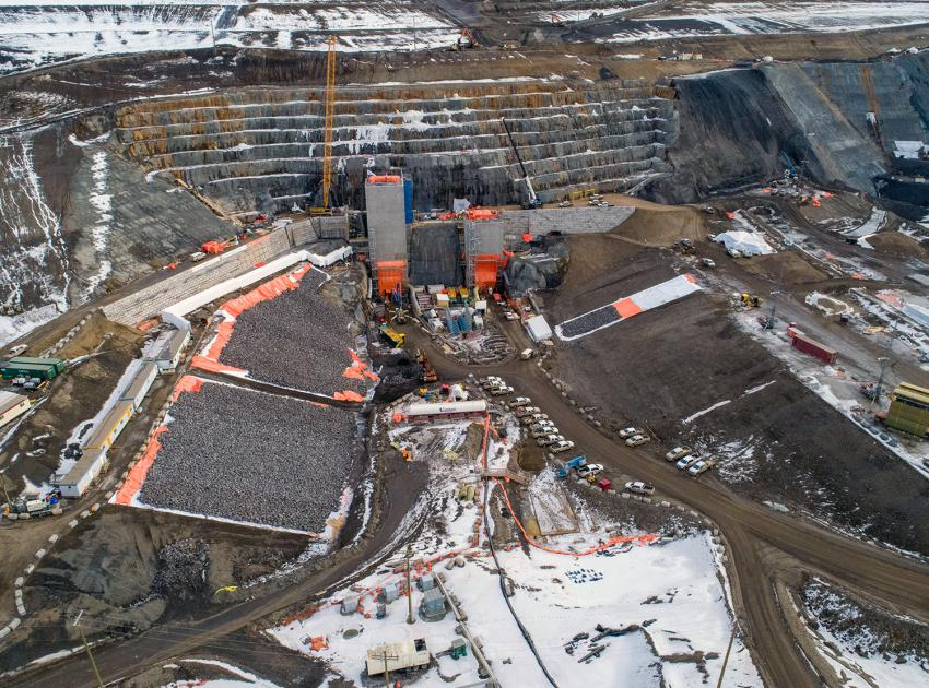 Aerial view of the diversion tunnel inlet portals. The tower structures will eventually house the mechanical gates required to control water flows into the tunnels. (February 2020)