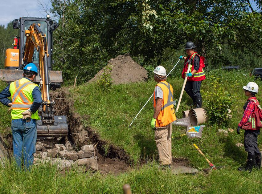 BC Hydro is working with Blueberry River First Nation to build hibernacula - artificial snake dens made with rocks and soil to reduce the effects of the Site C project on garter snakes. (July 2020)