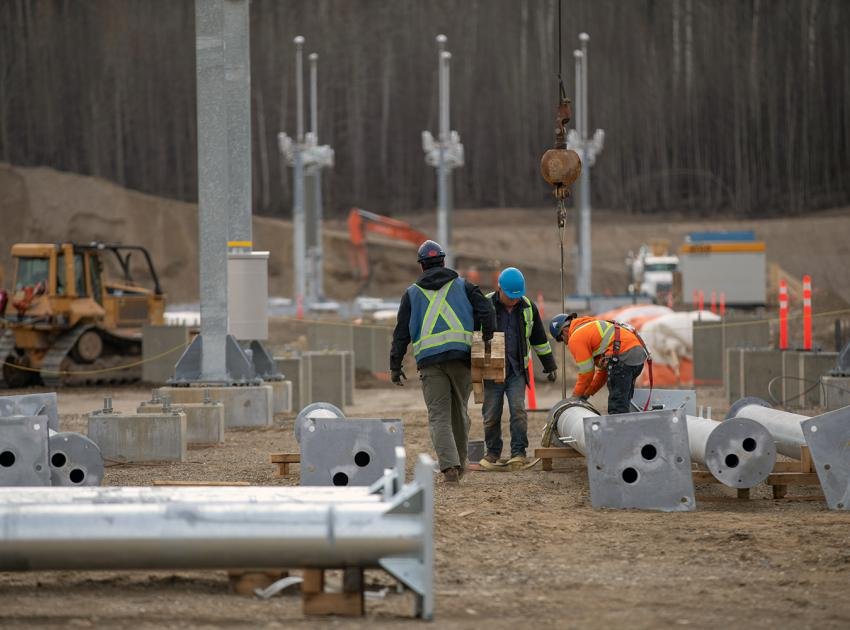 Workers continue to build the Site C substation, which will connect the power generated at Site C to transmission lines supplying the Peace Region and the rest of BC Hydro's transmission system. (Spring 2019)
