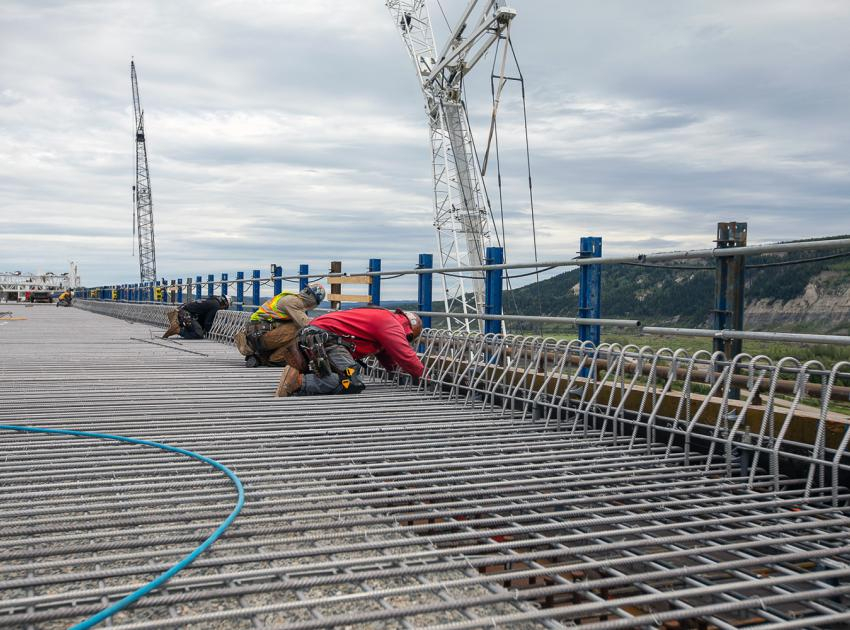 Tying rebar is one of the final steps before paving of the Halfway River bridge on Highway 29. (August 2021)