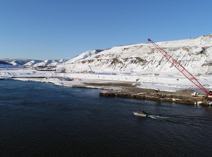 In-river works on the north bank (March 2018)