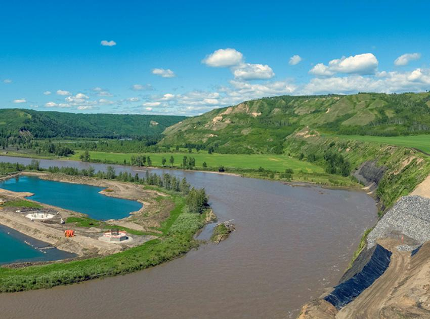 Highway 29 realignment at Halfway River showing bridge pier construction and site preparation for the abutment. (June 2020)