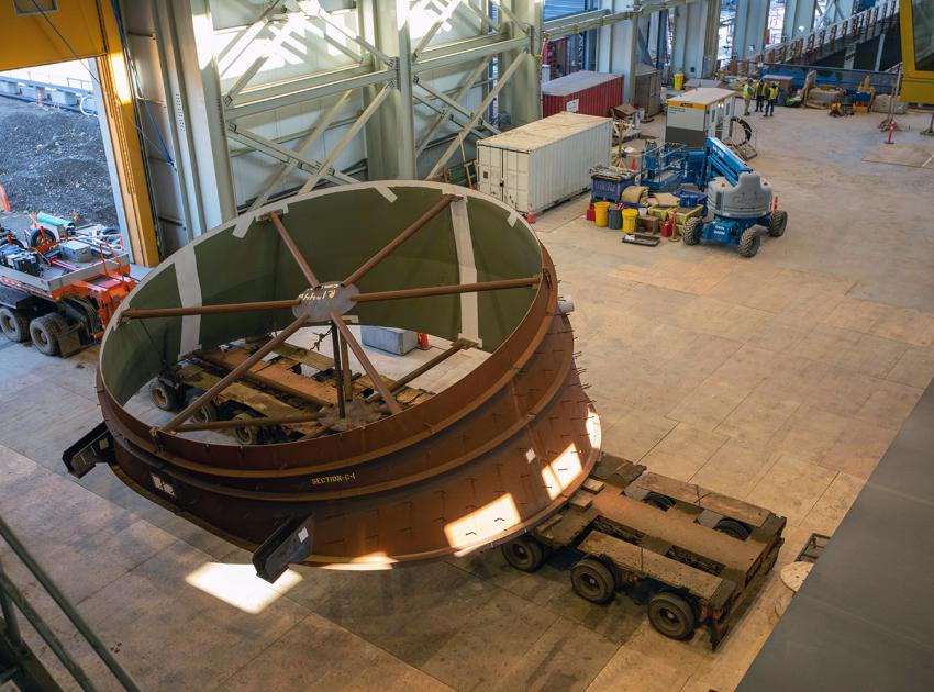 The draft-tube elbow ready to be installed. The Site C generating station will have six penstocks to direct water into its six turbine-and generator units. (October 2020)