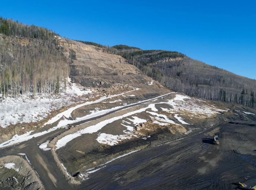 The lower rip-rap stockpile area at the bottom of Portage Mountain. (April 2020)